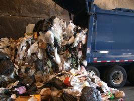 Garbage truck dumping waste.