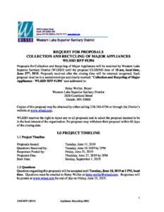 1396 RFP (2019) Appliance Recycling MRC June 27, 2019 | WLSSD
